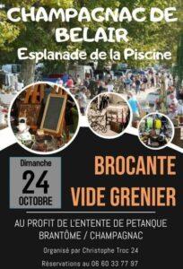 Brocante Vide-grenier - Entente de Pétanque Brantôme Champagnac @ Esplanade de la piscine