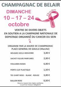 Stand de soutien Octobre Rose 2021 @ Marché dominical et esplanade de la piscine le dimanche 24/10